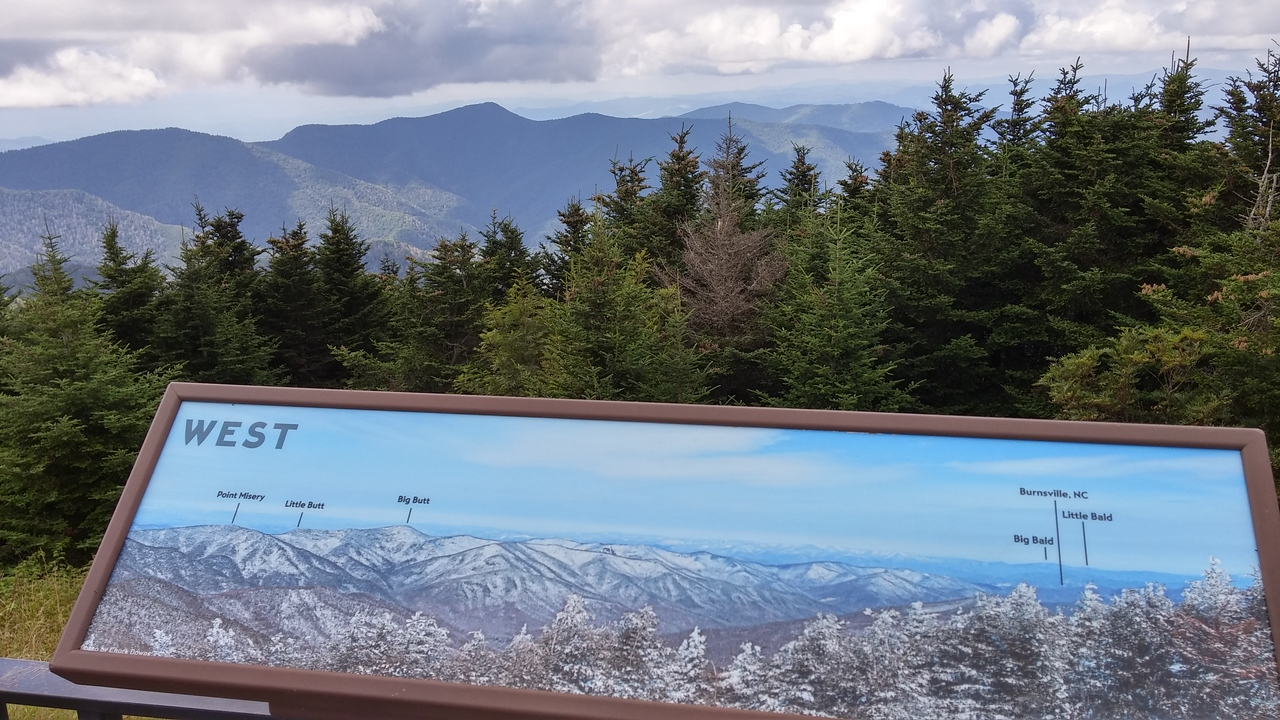 Views from the very top of Mount Mitchell from each compass direction.
