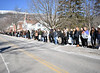 HOLLY PELCZYNSKI - BENNINGTON BANNER Students at Burr and Burton Academy line the street leading up to their school on Monday morning during a walkout student led event which was held to remember the seventeen lives lost and the countless number of those wounded during the mass shooting at Marjory Stoneman Douglas High School in Parkland, Fla.