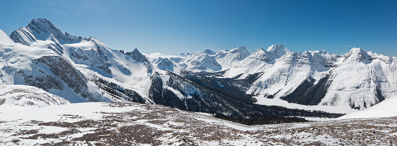 South Burstall panorama from Mount Douglas around to the upper Spray valley. Click image to enlarge, back button to return.