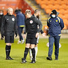 Picture: Richard Burley/Epic Action Imagery <br /> <br /> Blackpool v Burton Albion - SkyBet League One - 09/02/2021<br /> <br /> Pictured: Referee Chris Sarginson inspects the pitch ahead of cancelling the SkyBet League 1  match between Blackpool and Burton Albion  at Bloomfield Road on Tuesday 9th February 2021.