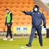 Picture: Richard Burley/Epic Action Imagery <br /> <br /> Blackpool v Burton Albion - SkyBet League One - 09/02/2021<br /> <br /> Pictured: Jimmy Floyd Hasselbaink (manager, Burton Albion) highlights the area of the pitch that he's most concerned about being frozen ahead of the SkyBet League 1  match between Blackpool and Burton Albion  at Bloomfield Road on Tuesday 9th February 2021.
