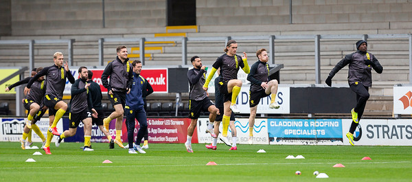 Picture: Epic Action Imagery <br /> <br /> Burton Albion v AFC Wimbledon - SkyBet League One - 24/10/2020<br /> <br /> Pictured: The Burton players warming up before the SkyBet League 1  match between Burton Albion and AFC Wimbledon at the Pirelli Stadium on Saturday 24th October 2020.