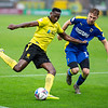 Picture: Epic Action Imagery <br /> <br /> Burton Albion v AFC Wimbledon - SkyBet League One - 24/10/2020<br /> <br /> Pictured: Lucas Akins of Burton Albion prepares to cross the ball whilst holding off Daniel Csoka of AFC Wimbledon during the SkyBet League 1  match between Burton Albion and AFC Wimbledon at the Pirelli Stadium on Saturday 24th October 2020.