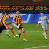 Picture: Alex Dodd/Epic Action Imagery <br /> <br /> Hull City v Burton Albion - SkyBet League One - 14/11/2020<br /> <br /> Pictured: Burton Albion's Ryan Edwards goes close under pressure from Hull City's Callum Elder during the SkyBet League 1 match between Hull City and Burton Albion a at the KCOM Stadium on Saturday 14th November 2020.
