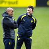 Picture: Richard Burley/Epic Action Imagery <br /> <br /> Burton Albion v Ipswich Town - SkyBet League One - 16/01/2021<br /> <br /> Pictured: Dino Maamria (Assistant manager, Burton Albion) and Chris Beardsley share a smile ahead of the SkyBet League 1  match between Burton Albion and Ipswich Town at the Pirelli Stadium on Saturday 16th January 2021.