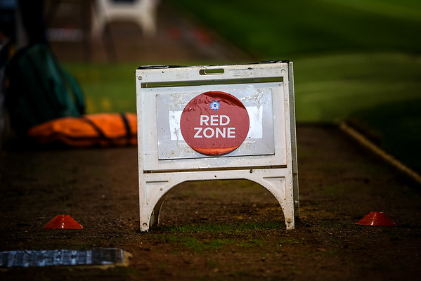 Picture: Aaron Murrell/ Epic Action Imagery<br /> <br /> Peterborough United v Burton Albion v  - SkyBet League One - 27/10/2020<br /> <br /> Pictured: A sign marking the Red Zone at the Stadium during the SkyBet League One match between Peterborough United and Burton Albion at the Weston Homes Stadium on Tuesday 27th October 2020.