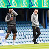 Picture: Richard Burley/Epic Action Imagery <br /> <br /> Portsmouth v Burton Albion - SkyBet League One - 10/04/2021<br /> <br /> Pictured: Mike Fondop (Burton Albion) and Tom Hamer (Burton Albion) ahead of the SkyBet League 1  match between Portsmouth and Burton Albion  at Fratton Park on Saturday 10th April 2021.