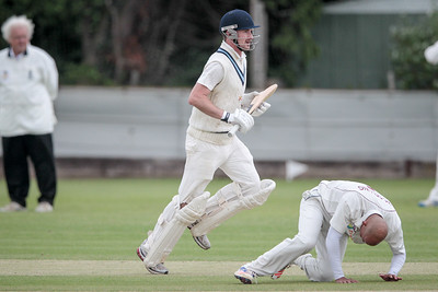 Daniel Thirkell watches as his shot speeds to the boundary for four.