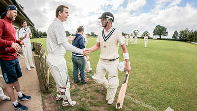 Dan Thirkell gets congratulations on his match-winning innings as he returns to the pavillion.