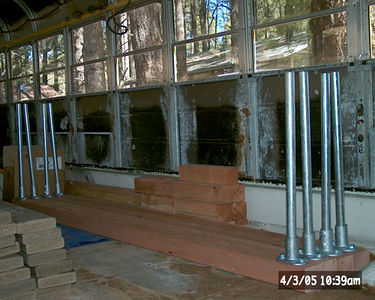 "We fabbed the remaining deck supports this morning for a total of 10. 3 more will have to be made, but they'll be attached to the bus in a different manner. The ""studs"" in the bus wall are truncated at the wheelchair door, the front (folding) door and at the very front, near the windshields."
