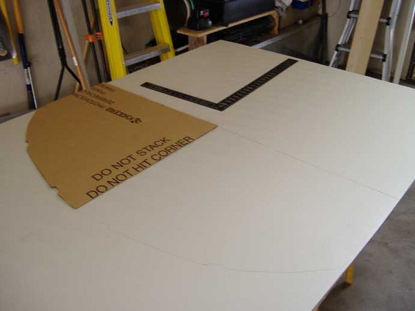 First step is to trace the sides onto the back of a single FRP panel using our trusty ceiling-curve template.