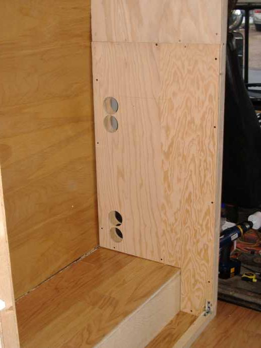 "We used the 3 1/8"" hole saw to create the rear vents needed for optimal refrigerator efficiency.  We later converted these to two 30 square inch ovals."