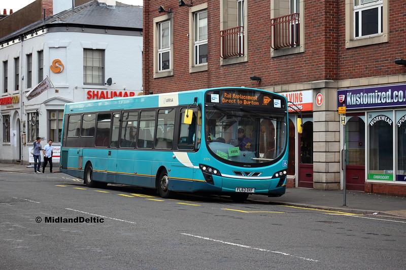Arriva Midlands 3775, Midland Rd Derby, 18-08-2018