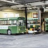 A view inside London Country's Dunton Green Garage, from Barretts Road entrance,  with three ECW bodied Bristol LH, BN62 (TPJ62S), BN29 (XPD129N) and BN54 (TPJ54S) – 13 October 1979.