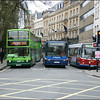 A line up of Oxford Bus Trident 114 (T114DBW), on Park & Ride service 300 to Pear Tree, and Stagecoach Oxford Volvo 20694 (P319EFL) on service 27A at St. Giles, Oxford - 10 April 2004.