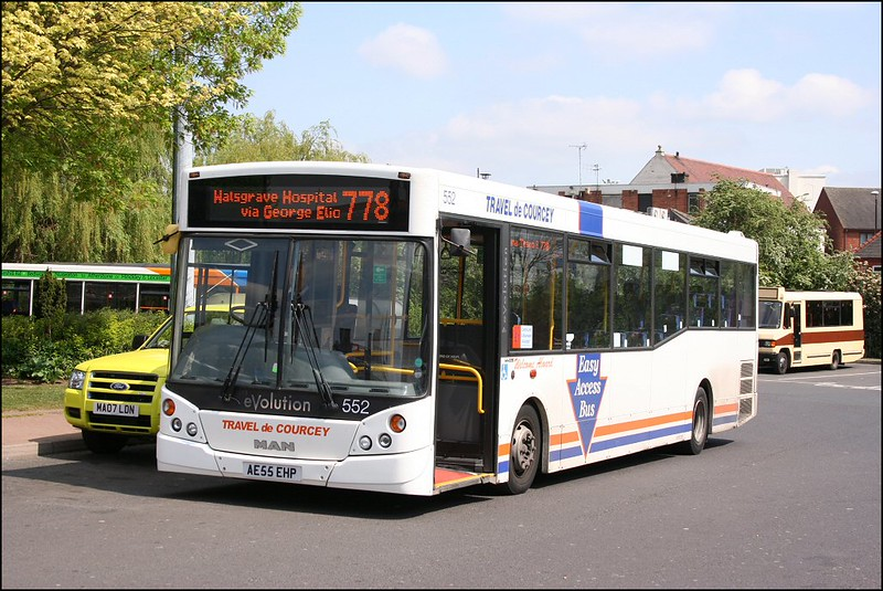 Travel de Courcey's Man eVolution 552 (AE55EHP) about to depart Nuneaton Bus Station on service 778 to Walsgrave Hospital - 26 April 2007.