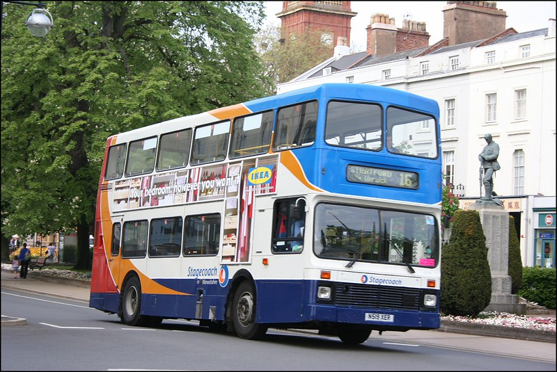 Stagecoach Midland Red South Volvo Olympian 16599 (N519XER) arriving on Leamington Spa on service 18 from Stratford - 26 April 2007.
