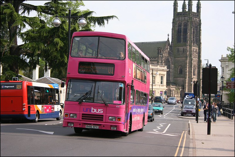 Stagecoach Midland Red South Volvo Olympian 16516 (R416XFC), in the 'pink' Uni livery on service U1, heads towards Warwick University - 26 April 2007.