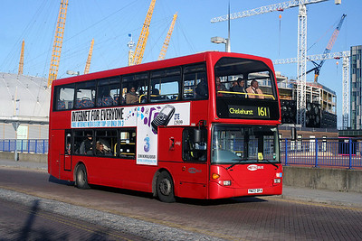 466-YN03 DFV Metrobus at the O2 Arena