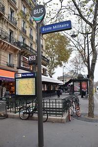 Bus stop at École Militaire 15 November 2018