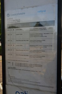 National Express Timetable Park St, Ashford 6 June 2017