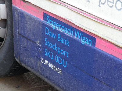 Legal lettering on a Stagecoach Wigan bus 3 December 2012