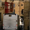 Tight spot of route 2 in Bugibba, Malta (over hanging buildings)