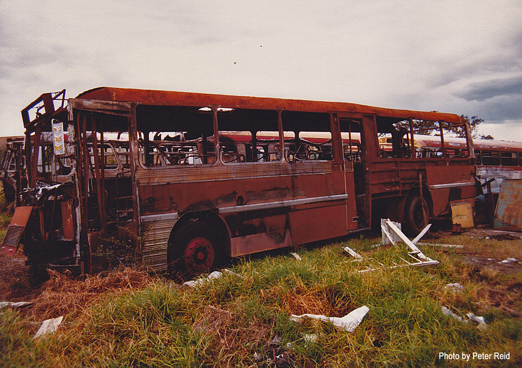 m/o 4393 Leyland Worldmaster/Smithfield (?/77) (Rebody of Ex MTT Adelaide) (Damaged by fire in depot on 5/2/83 and later scrapped) Photo taken at Northmead Depot in 1983. (Image from the Peter Reid Collection)