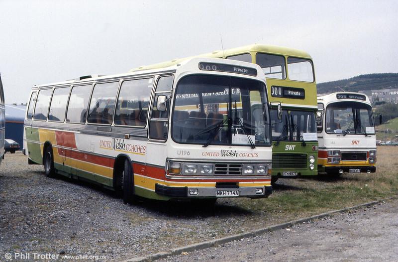 United Welsh Coaches 196 (MKH 774A), a Leyland Leopard/Duple C50F originally National Travel (South West) JDG 287V).