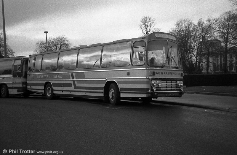 Seen in its 'afterlife' with Brewers, Caerau is XDG 215S, a Leyland Leopard/Plaxton C55F, originally National Travel (South West) 215.