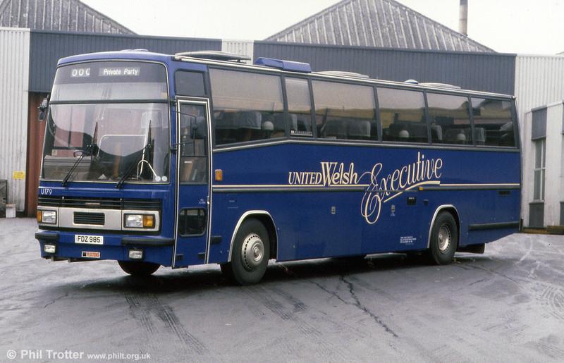 'Executive' coach 179 (FDZ 985) was a former Cowie, London Leyland Royal Tiger/Plaxton C44FT, originally registered A840 SYR.
