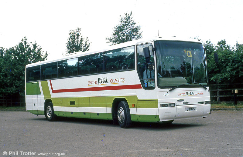 Seen when new is 173 (L8 BMS), a Dennis Javelin/ Plaxton C51Ft.