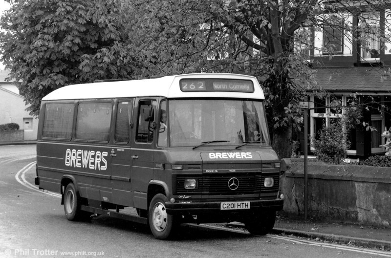 Another 1992 view of former SWT 201 (C201 HTH), a Mercedes 608D/Robin Hood B20F.