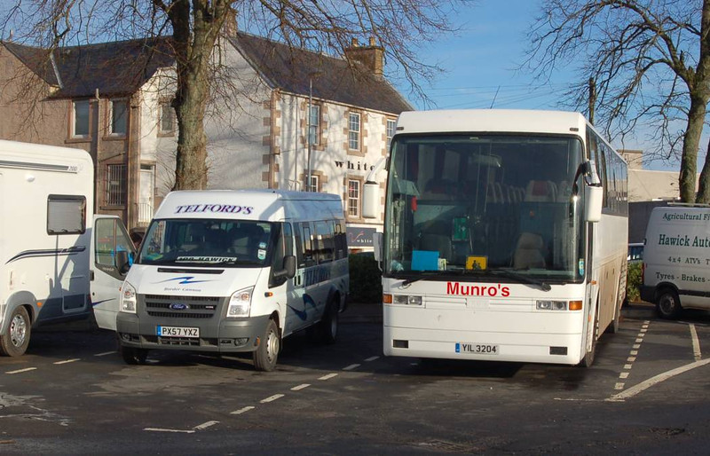 Telford's PX57YXZ & Munro's YIL3204, Hawick, 28th January 2012