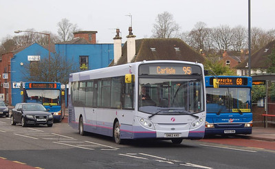 First 67775 (SN61CXA), West Tower Street, Carlisle, 28th January 2013