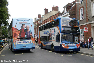 Stagecoach 15591 (GX10HAU) and 15604 (GX10HBO), West Street, Chichester, 26th July 2011
