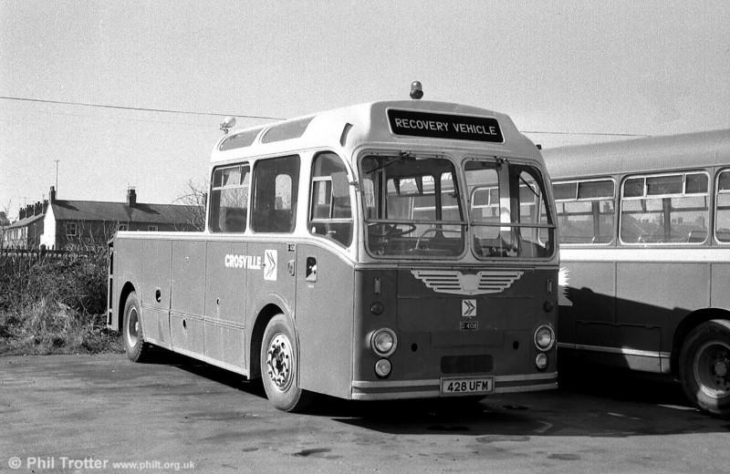Former Crosville Bristol MW6G/ECW C39F CMG408 (428 UFM) enjoying semi-retirement as a recovery vehicle at Aberystwyth depot.
