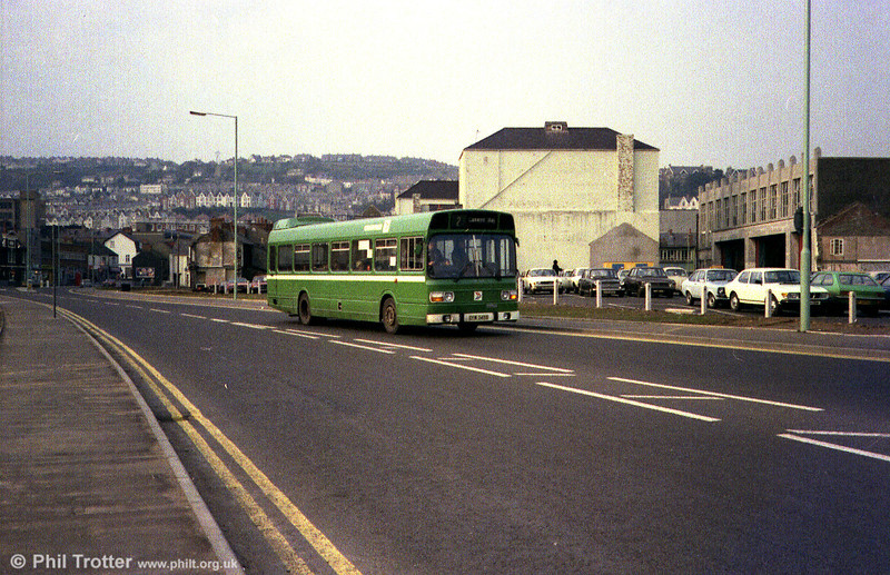 Crosville Leyland National/B49F SNL345 (CFM 345S) at West Way, Swansea while on hire to SWT.