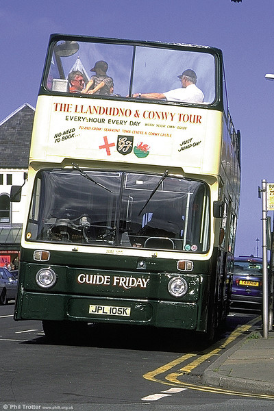 Owned by Crosville but carrying Guide Friday livery, HAL105 (JPL 105K) was a Leyland Atlantean PDR1A/1 with Park Royal O43/24D (converted from H43/29D) which was formerly London Country AN5.
