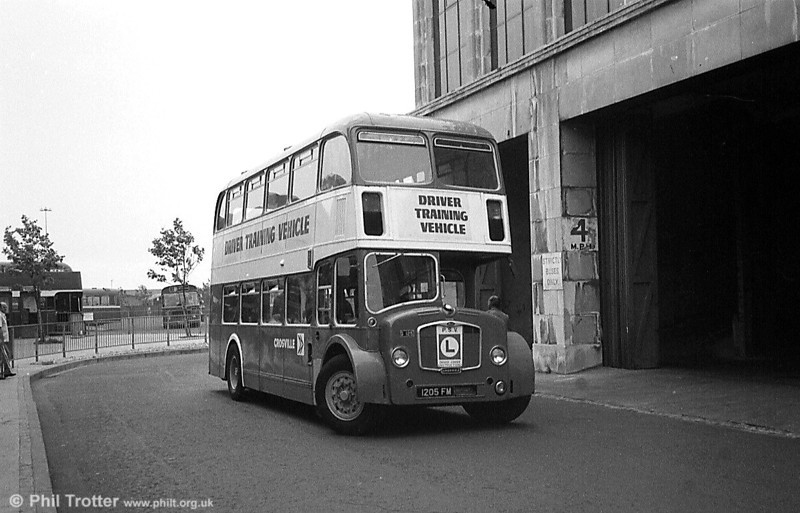 In the early 1980s South Wales Transport borrowed two Crosville training vehicles to assist with driver training as part of the move to one person operation. Here, 1963 Bristol FS6G/ECW H33/27RD DFG125 (1205 FM) is seen at Plymouth Street, Swansea.