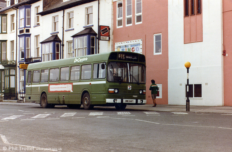 Nowadays something of a rarity, the 'B' series Leyland National was introduced in 1979 and was a low-cost version of the type, being 10% cheaper than other models. Under seat heating was fitted, meaning that the familiar roof pod wasn't required. All examples were 10.3 metres long, usually to B44F layout. This is Crosville's 1978-built SNL646 (GMB 646T) photographed at Aberystwyth.