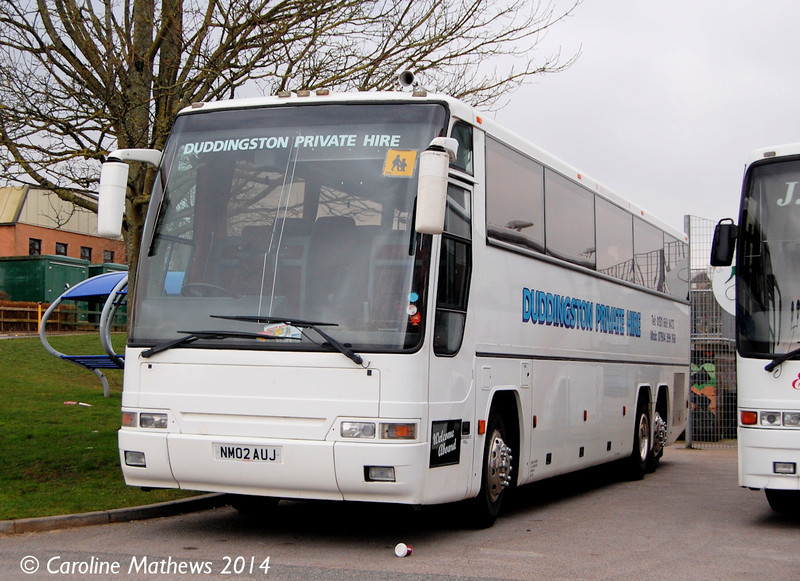 Duddingston Private Hire Volvo B12/Plaxton NM02UAJ parked at Penrith Leisure Centre, 9th March