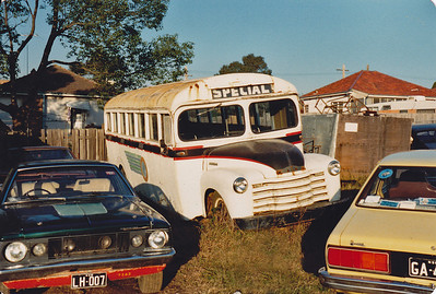 CHEV/PROPERTS (Ex Orange Bus Co) Was a GMC before an accident. Was used in 'A Country Practice' and several TV commercials – Photo Location: Drummond Transit Co. Depot Greenacre. (Details Courtesy of Ron Drummond)