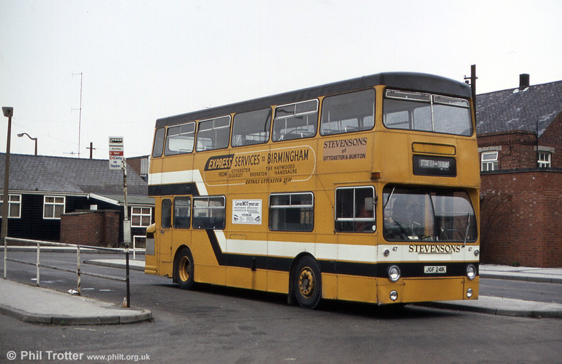 Stevenson's former LT DMS 241 (JGF 241K) now numbered 47, at Burton Bus Station in February 1984.