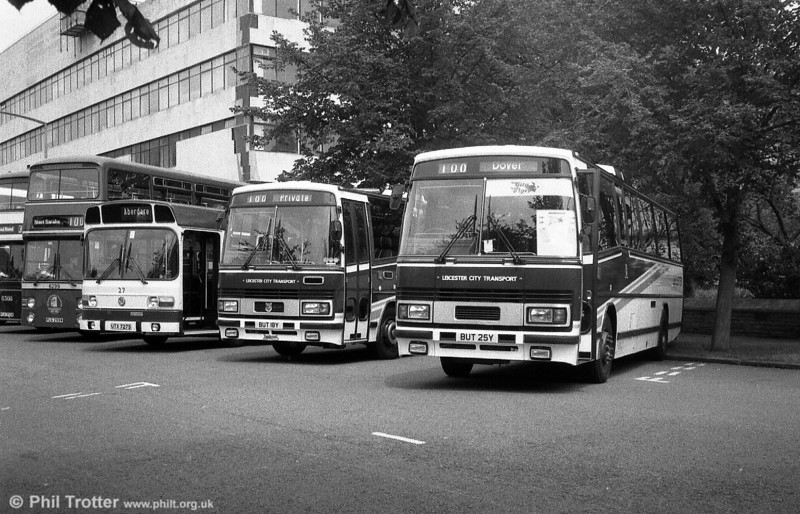 Leicester 18 (BUT 18Y) and 25 (BUT 25Y). The former is a Leyland Tiger/Plaxton C53F, the latter a Dennis Dorchester/Plaxton C49F.