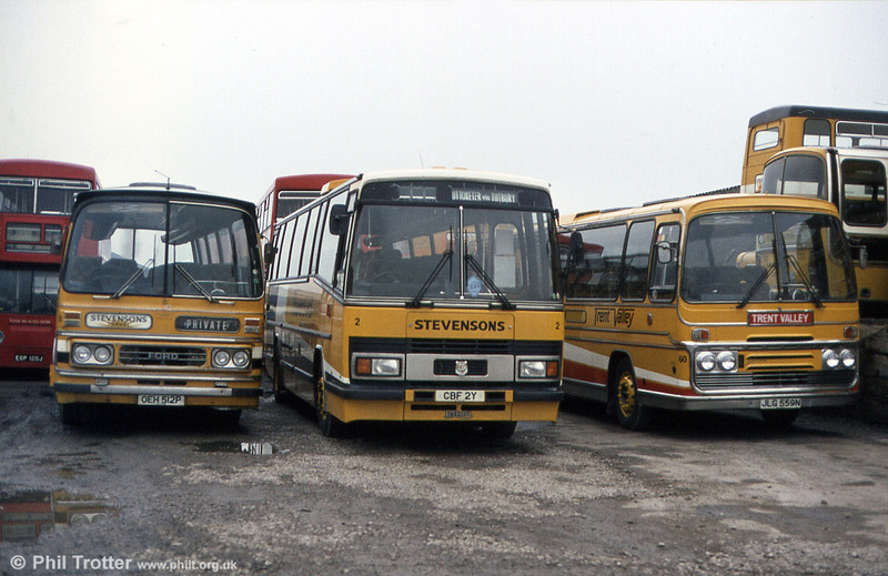 Three coaches at Stevenson's depot at Burton in February 1984. Left to right: 6 (OEH 512P), a 1976 Ford R1014/Duple C45f which had been operated from new; 2 (CBF 2Y0, A Leyland Tiger/Plaxton C53F, also purchased new and 60 (JLG 559N), a 1983 Ford R1114/Plaxton C53F which had been new to Shearings in 1975.