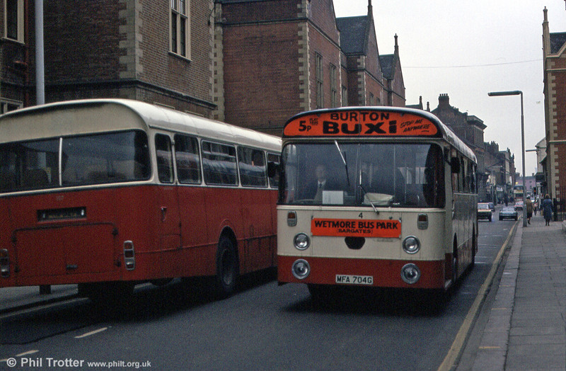 East Staffordshire 4 (MFA 704G) was, interestingly, a single deck Daimler Fleetline SRG6LW with Willowbrook B44F, formerly numbered 104. This had been transferred from the erstwhile Burton-upon-Trent Corporation Transport Department on 1st April 1974.