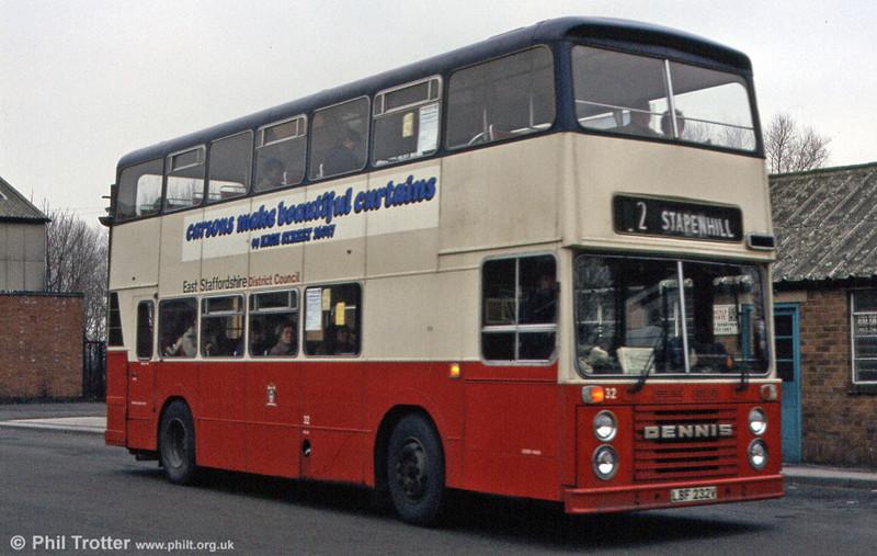 A closer look at East Staffordshire 32 (LBF 232V), a 1980 Dennis Dominator/East Lancs H43/32F.
