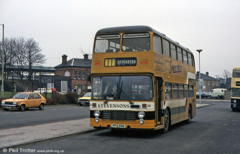 Stevenson's Bristol VRT 50 (PFA 50W), in February 1984. Another VRT bought new, this vehicle's body was designated CH41/29F.