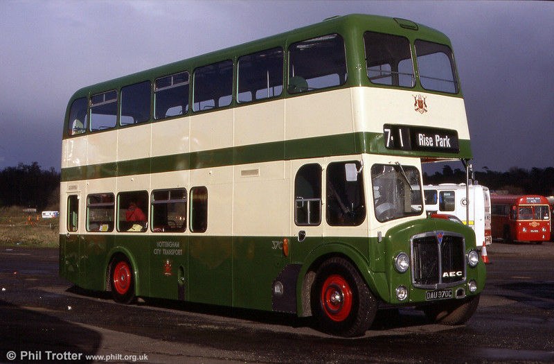 370 (DAU 370C), an AEC Renown with - unusually - a highbridge body by Weymann, part of a large batch purchased by Nottingham City Transport in 1965. Sadly, this vehicle was destroyed in an arson attack in February 2007. RIP.